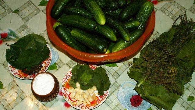огурцы, чеснок, зелень