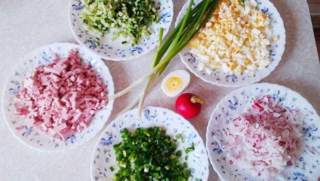Классическая окрошка на квасе с колбасой рецепт пошагово