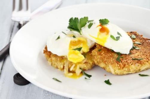 картофельные котлеты с  яйцом-пашот