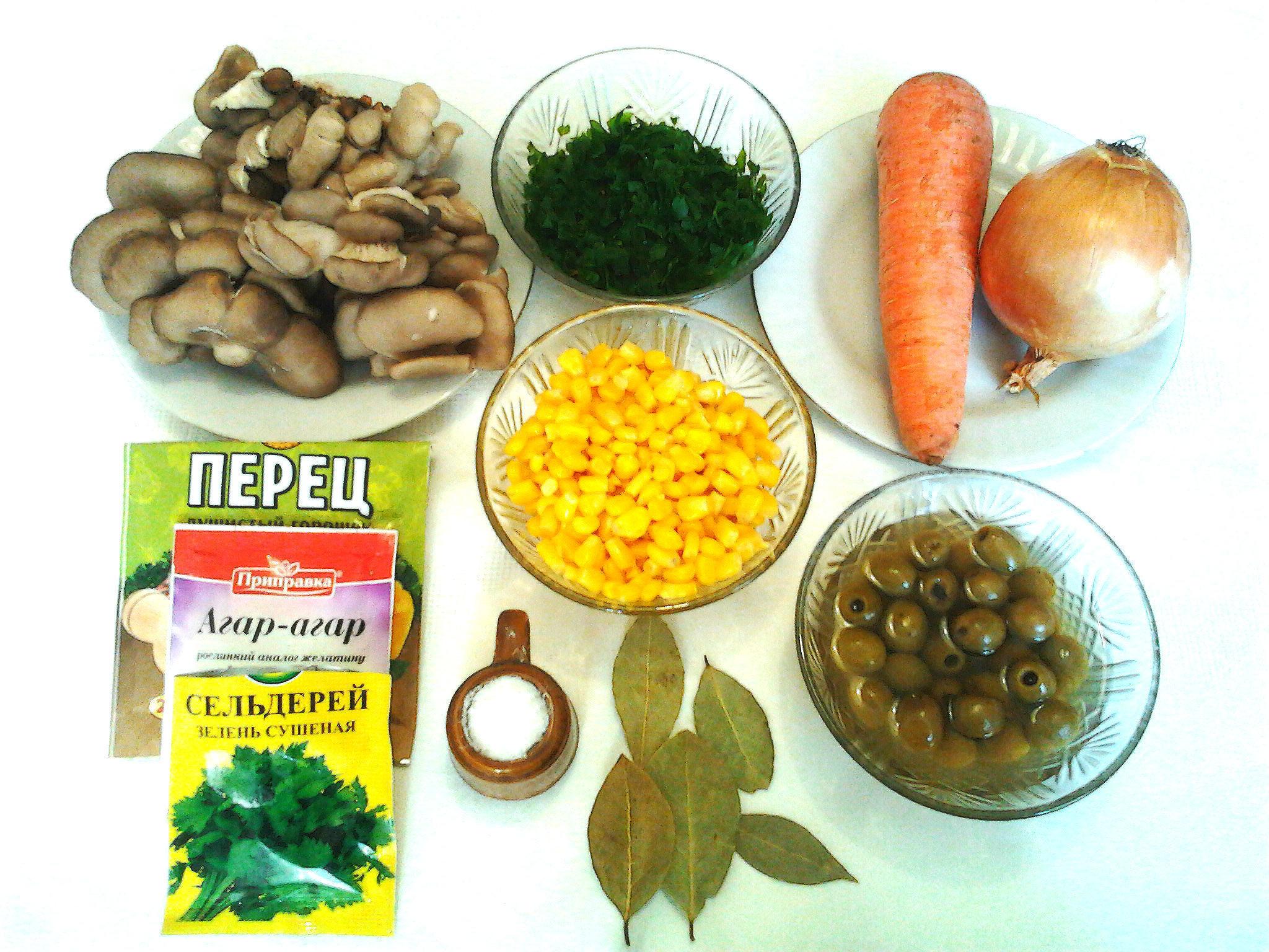 Постное заливное на грибном бульоне с овощами